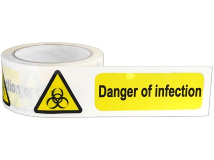 Danger of infection symbol and text safety tape.