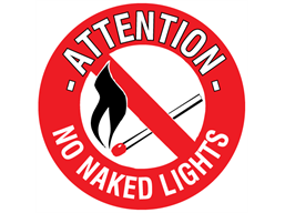 Attention no naked lights floor marker