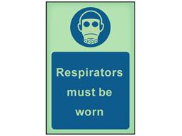 Respirators must be worn photoluminescent safety sign