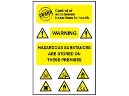 COSHH. Storage of hazardous substances sign.