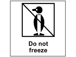 Do not freeze heavy duty packaging label