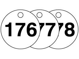 Plastic valve tags, numbered 176-200