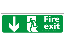 Fire exit, running man, arrow down sign.