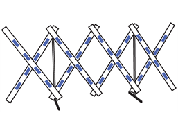Concertina barrier, blue and white.