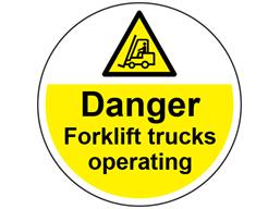 Danger fork lift trucks operating symbol and text floor graphic marker.