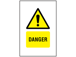 Danger symbol and text safety sign.