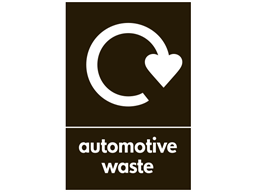 Automotive waste WRAP recycling sign.