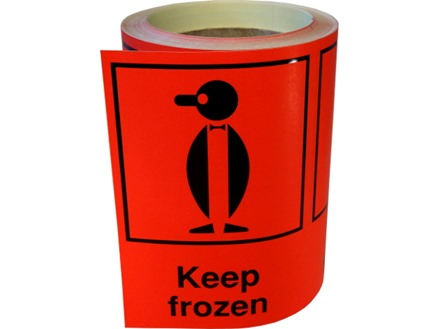 Keep frozen shipping label.