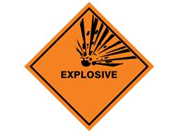 Explosive hazard warning diamond sign