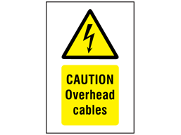 Caution Overhead cables symbol and text safety sign.