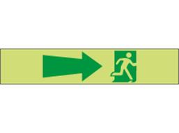 Photoluminescent Exit, running man, arrow right tape