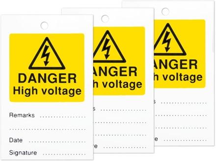 Danger high voltage tag.
