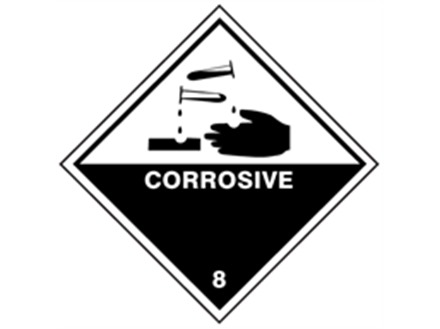 Corrosive, class 8, hazard diamond label