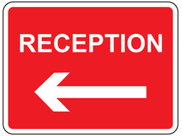 Reception, arrow left sign