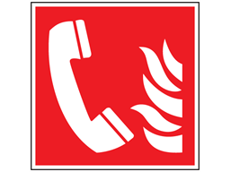 Fire telephone symbol safety sign.