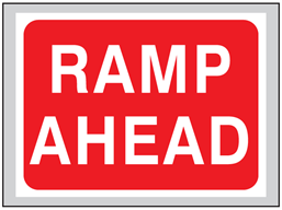 Ramp ahead roll up road sign