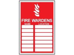 Fire wardens register sign