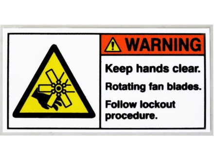 Warning keep hands clear rotating fan blades label