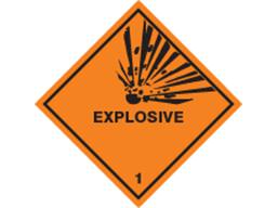 Explosive, class 1, hazard diamond label