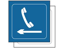 Telephone, arrow left symbol sign.