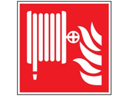 Fire hose reel symbol safety sign.