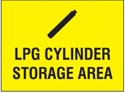 LPG cylinder storage area symbol and text sign.