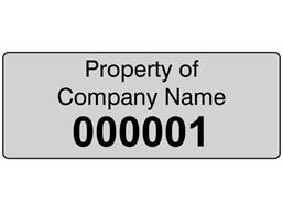 Assetmark tamper evident serial number label (black text), 19mm x 50mm