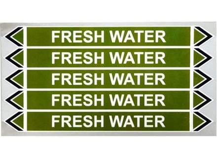 Fresh water flow marker label.