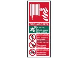 Fire hose reel safety sign.
