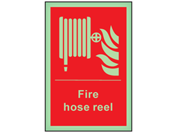 Fire hose reel symbol and text photoluminescent safety sign