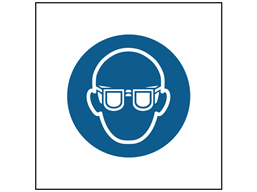 Wear eye protection symbol safety sign.
