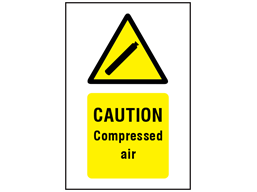 Caution Compressed air symbol and text safety sign.