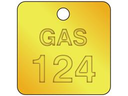Custom square brass valve tag natural lettering