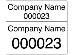 Assetmark dual serial number label (black text), 26mm x 30mm