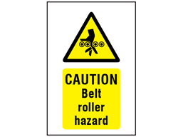 Caution Belt roller hazard symbol and text safety sign.