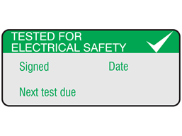 Tested for electrical safety, next test due aluminium foil labels.