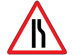 Road narrows on right sign