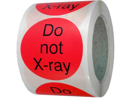 Do not x-ray packaging label
