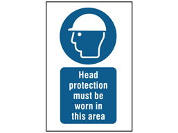 Head protection must be worn in this area symbol and text safety sign.