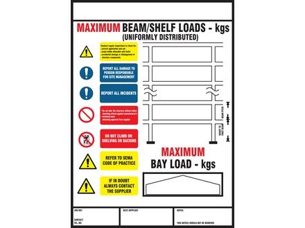 Safety rack loading sign