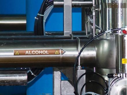Alcohol flow marker label.