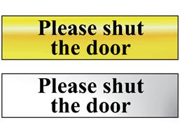 Please shut the door metal doorplate