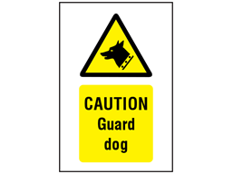 Caution Guard dog symbol and text safety sign.