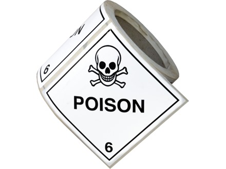 Poison, class 6, hazard diamond label