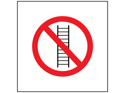 No ladders allowed symbol safety sign.