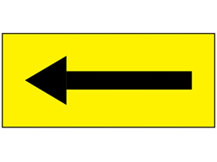 Safety and floor direction tapes, black arrow on yellow.