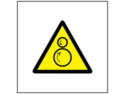 Rotating parts hazard symbol safety sign.