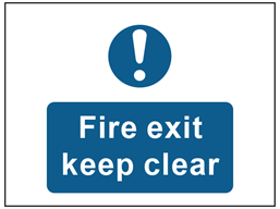 Fire exit keep clear safety sign.