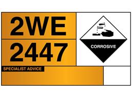Hazchem tanker warning plate