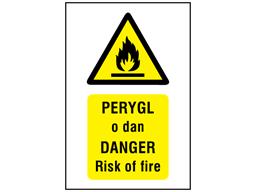Perygl o dan, Danger Risk of fire. Welsh English sign.
